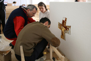 Fr Marko Ivan Rupnik SJ and  artists of the Centro Aletti at work during the reordering of the College Chapel.