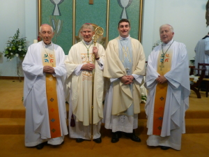 Pictured after the ordination (left to right): Archbishop Patrick Coveney, former Apostolic Nuncio, Bishop John Buckley of Cork and Ross, Fr Marius O'Reilly, Bishop Christopher Jones, Emeritus Bishop of Elphin.