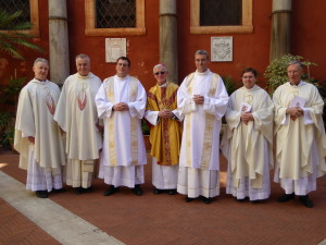 Left to right: Fr George Hayes (Vice Rector), Monsignor Ciarán O'Carroll (Rector), Rev. Daniel Gallagher (new Deacon), Bishop Martin Drennan (ordaining Bishop), Rev. Stephen Duffy (new Deacon), Fr Hugh Clifford (Director of Formation), Fr Thomas Norris (Spiritual Director).