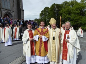 Fr Aidan McCann pictured after his ordination to Priesthood with the ordaining Bishop, Archbishop Eamon Martin and Irish College formation staff members Fr Hugh Clifford and Fr Tom Norris.