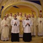 Left to right: Monsignor Ciarán O'Carroll (Rector), Fr Hugh Clifford (Director of Formation), Bishop Dónal McKeown (Derry), Bishop Francis Duffy (Ardagh and Clonmacnois), Mr Tony Shannon (new Reader), Rev. Stephen Duffy (Deacon), Bishop Leo O'Reilly (Kilmore, celebrant), Fr George Hayes (Vice Rector), Mr Seán Mulligan (new Reader), Bishop Philip Boyce (Raphoe), Bishop Brendan Kelly (Achonry), Fr Thomas Norris (Spiritual Director).