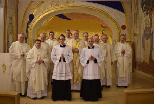 Left to right: Monsignor Ciarán O'Carroll (Rector), Fr Hugh Clifford (Director of Formation), Bishop Dónal McKeown (Derry), Bishop Francis Duffy (Ardagh and Clonmacnois), Mr Tony Shannon (new Reader), Rev. Stephen Duffy (Deacon), Bishop Leo O'Reilly (Kilmore, celebrant), Fr George Hayes (Vice Rector), Mr Seán Mulligan (new Reader), Bishop Philip Boyce (Raphoe), Bishop Brendan Kelly (Achonry), Fr Thomas Norris (Spiritual Director).
