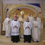 Photographs shows (left to right): Fr Thomas Norris (Spiritual Director), Rev. Stephen Duffy (Deacon for the Mass), Mr Robert Smyth (new Acolyte), Archbishop Claudio Maria Celli (President, Pontifical Council for Social Communications), Mr James Daly (new Acolyte), Mons. Ciarán O'Carroll (Rector), Fr Hugh Clifford (Director of Formation), Fr George Hayes (Vice Rector).