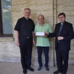 Mons. Ciarán O'Carroll, Rector, and Fr Hugh Clifford, Director of Formation presenting a cheque for €1125 to Mr Massimo Fusco of the Circolo San Pietro, after Sunday Mass at the Pontifical Irish College on 26th June 2016.