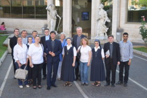 Fr Romeo Neculai pictured outside the Pontifical Lateran University with some of those who attended his doctoral defence, including members of the Pontifical Irish College community.