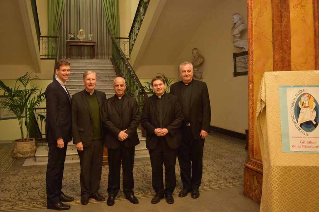 Left to right: Fr Paul Finnerty (Vice Rector), Fr Thomas Norris (Spiritual Director), Archbishop Rino Fisichella (President of the Pontifical Council for the Promotion of the New Evangelisation), Fr Hugh Clifford (Director of Formation), Mons. Ciarán O'Carroll (Rector).